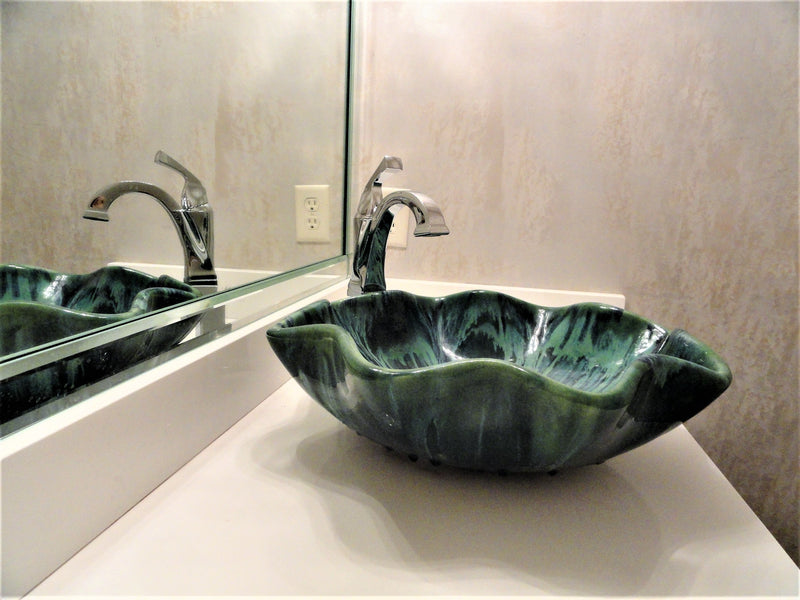 "Above Vessel Sink Abstract Green 18.5""x5.5"" CS02"