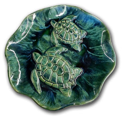 Ceramic turtle wall hanging plaque,  platter, serving dish, ottoman tray, scalloped turtle platter, serving tray, sea turtles wall art, Hawaiian sea turtles art, turtle décor, decorative turtle wall plaques, scalloped turtle bowl, turtle serving dish, ceramic turtle , ceramic turtle plate, Hawaii turtle art, Home & Living, decorative turtle wall art, home décor, turtle design plaque