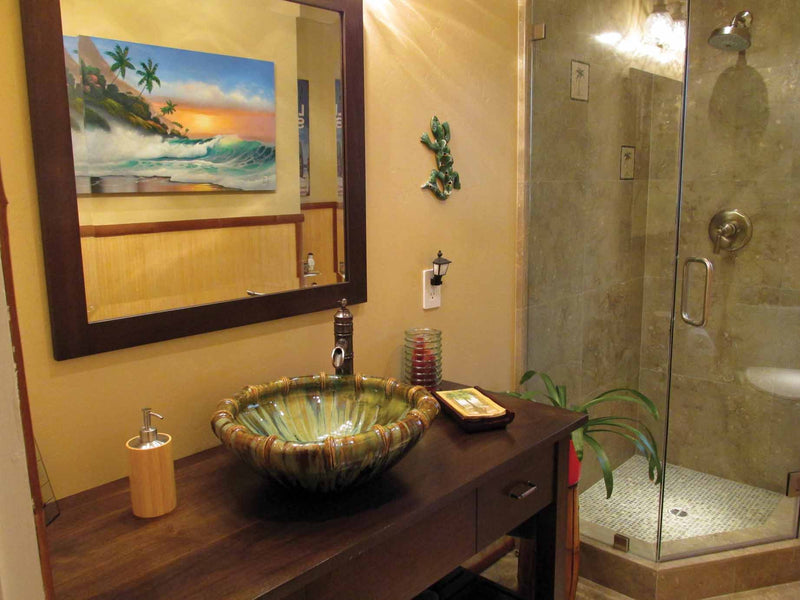 Above Vanity with Bamboo Rim Sink Design - Maui Ceramics