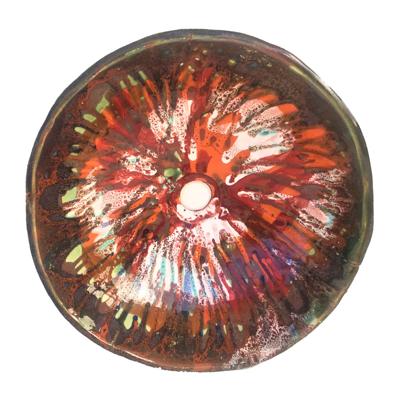 Psychedelic & Abstract Red & Brown Colored Above Vessel Sink