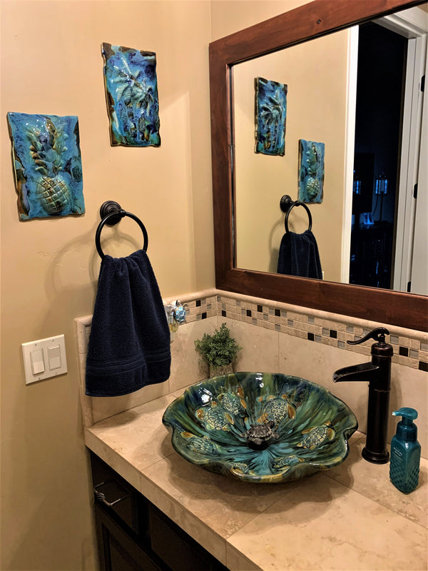 Maui Tropical Ceramic Above Vessel Bathroom Sink With Eigth Sea Turtle Relief Design