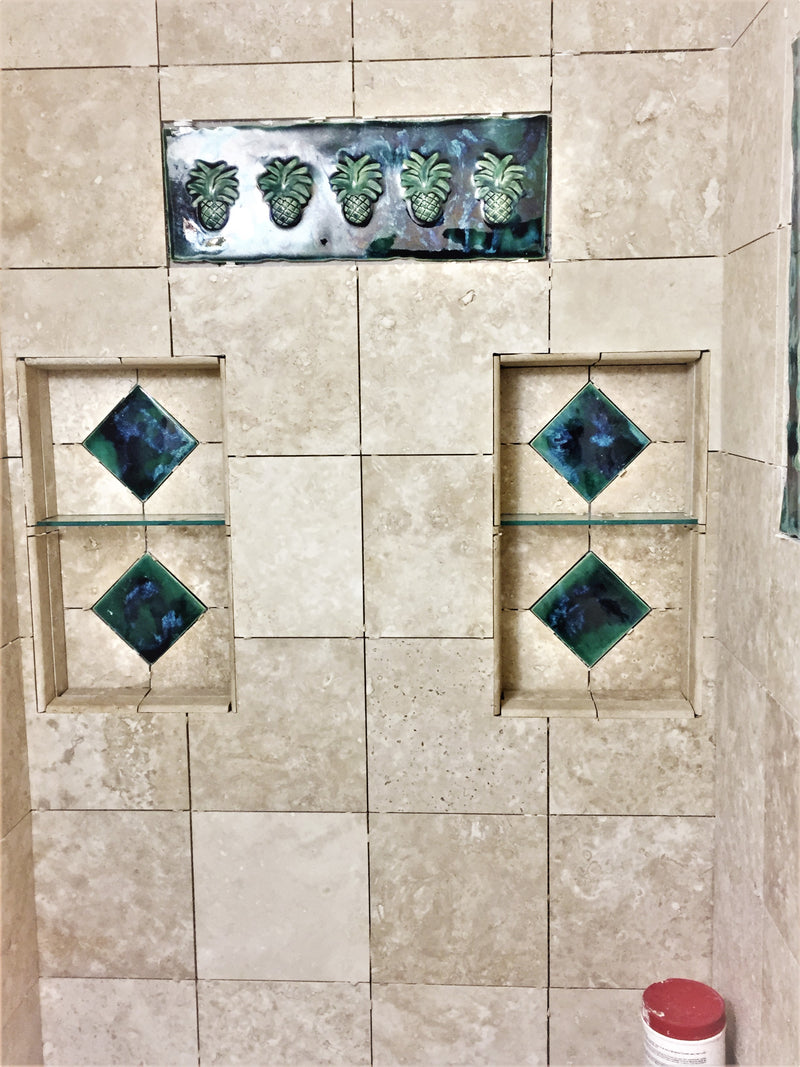 "Bathroom Shower Tile with Pineapple Relief Design  22"" x 8.5"" $595.00 TI20"
