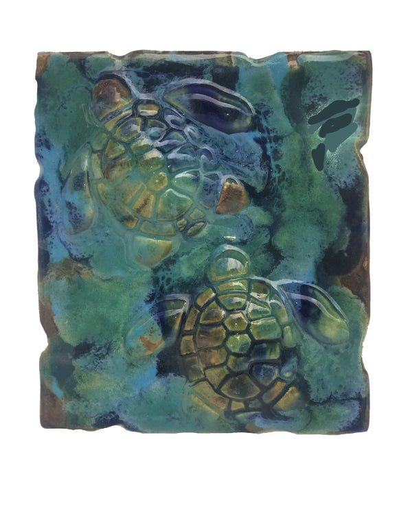 tropical beach art, decorative wall tile, sea turtle art, beach turtle decor, made on maui turtle, Hawaiian sea turtle, maui ceramic turtles, maui sea turtle, sea life art, turtle gift, turtle gifts wall art, ceramic sea turtles, green sea turtle, beach theme decor, rustic home decor, nautical home decor, nautical decor
