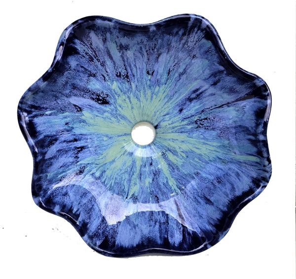 Periwinkle & Royal Blue Hand Sculpted Scalloped Rim Sink - Maui Ceramics
