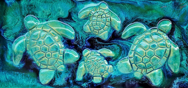 Ceramic Turtle Design for Kitchen Backsplash Tile, Bathroom Tile, Wall Hanging 7.5x10.5 $120.00 SP28