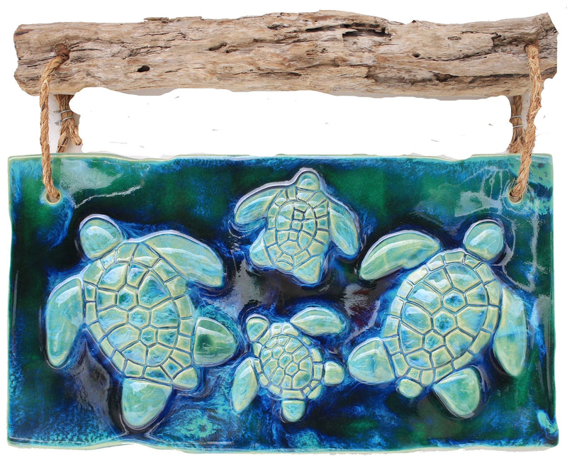 Hawaiian Sea Turtle Decor In Ceramic Tile Earth Tones - Maui Ceramics