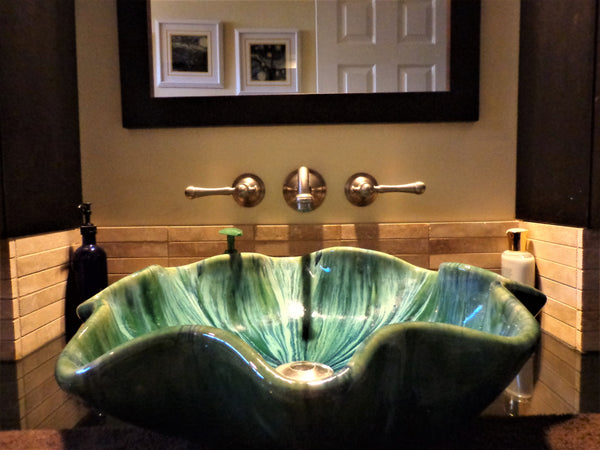 Ceramic Above Vessel Sink, Double Vanity Sink, Modern Bathroom Porcelain Sink 18x5.5 $1,995.00 SI86