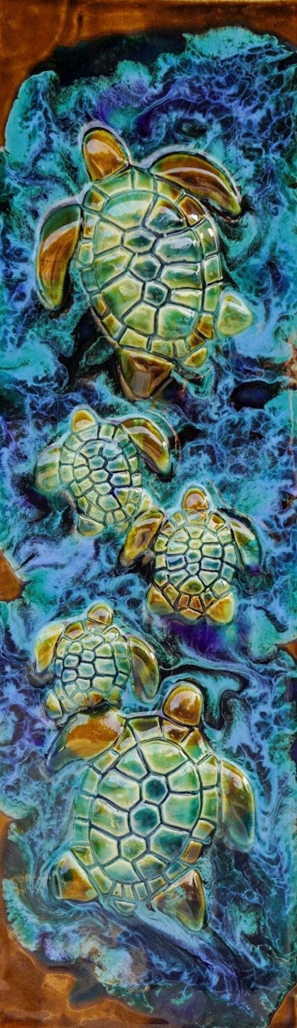 Hawaiian Green Sea Turtles Home Decor - Bathroom Wall Tiles - Maui Ceramics