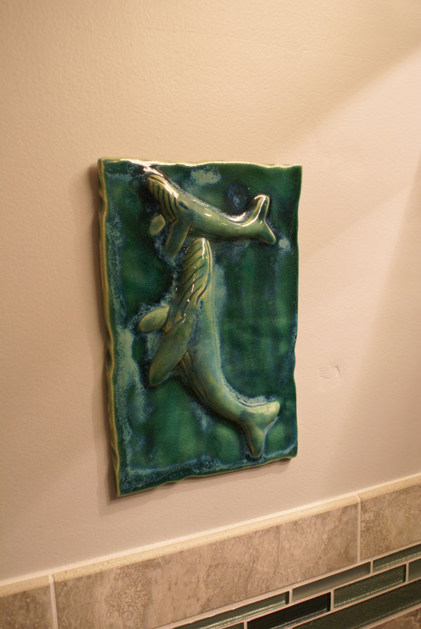 Ceramic Dolphine Kitchen Backsplash, Dolphine Wall Hanging