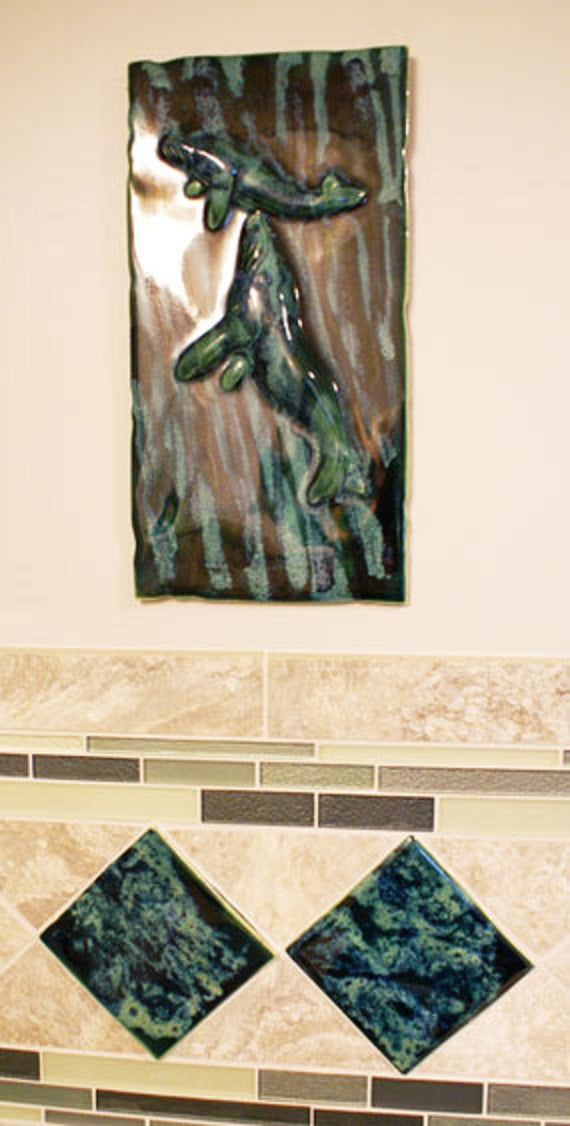 Bathroom Tile with Whale Relief Design