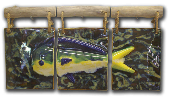 Three Panel Hawaiian Dolphin Wall Hanging Art w/Driftwood - Maui Ceramics
