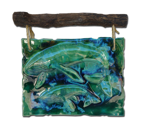Maui Humpback Whale and Calf Wall Art w/Driftwood DW21