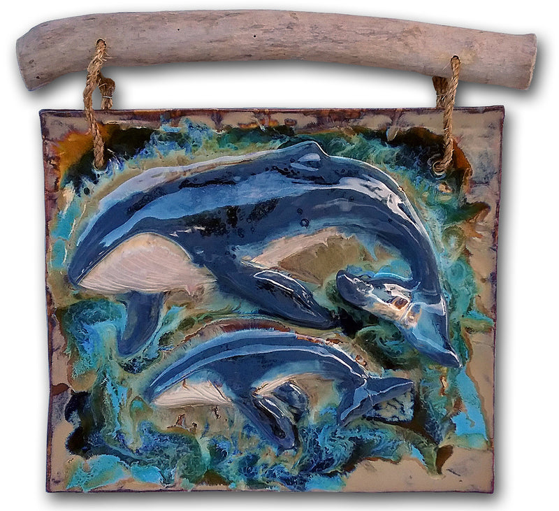 Ceramic Humback Whale & Calf Wall Art, Humpback Whale Art Decor - Maui Ceramics