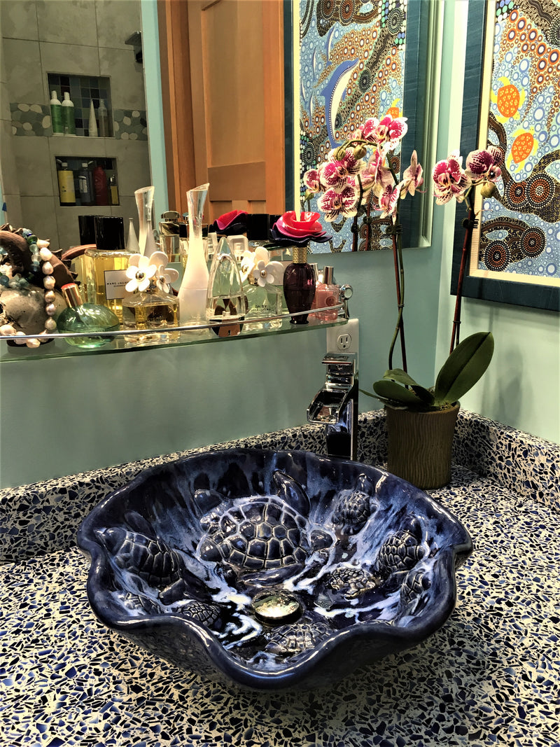 Blue bathroom sink, Handmade Sink, Turtle Decor, Ceramic Bathroom Sink, Sea Life Art, Tropical Sink, Sea Turtle Décor, green turtle decor, bathroom vanity with sink, mexican sink, tropical bathroom, beach decor, sea turtle art, hawaiian art, turtle home decor, ceramic tile, single sink vanity, sink, sinks, above counter sink, sea turtle decor, tropical bathroom basin, bathroom sinks, sink, bathroom beach decor, tropical bathroom decor, beach house decor, green sinks, ceramic sink, above vessel sinks, sea tu