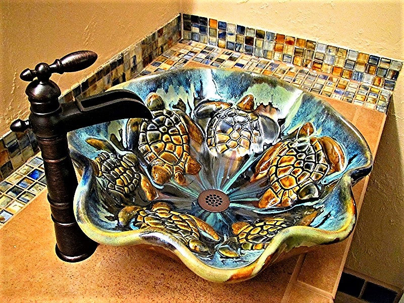 handmade sink, sea turtle decor, hawaiian decor, bathroom basin, maui Hawaii, ceramic vessel sink, sea life art, ceramic tile, single sink vanity, turtle bathroom, sea turtle art, bathroom sinks, blue sink