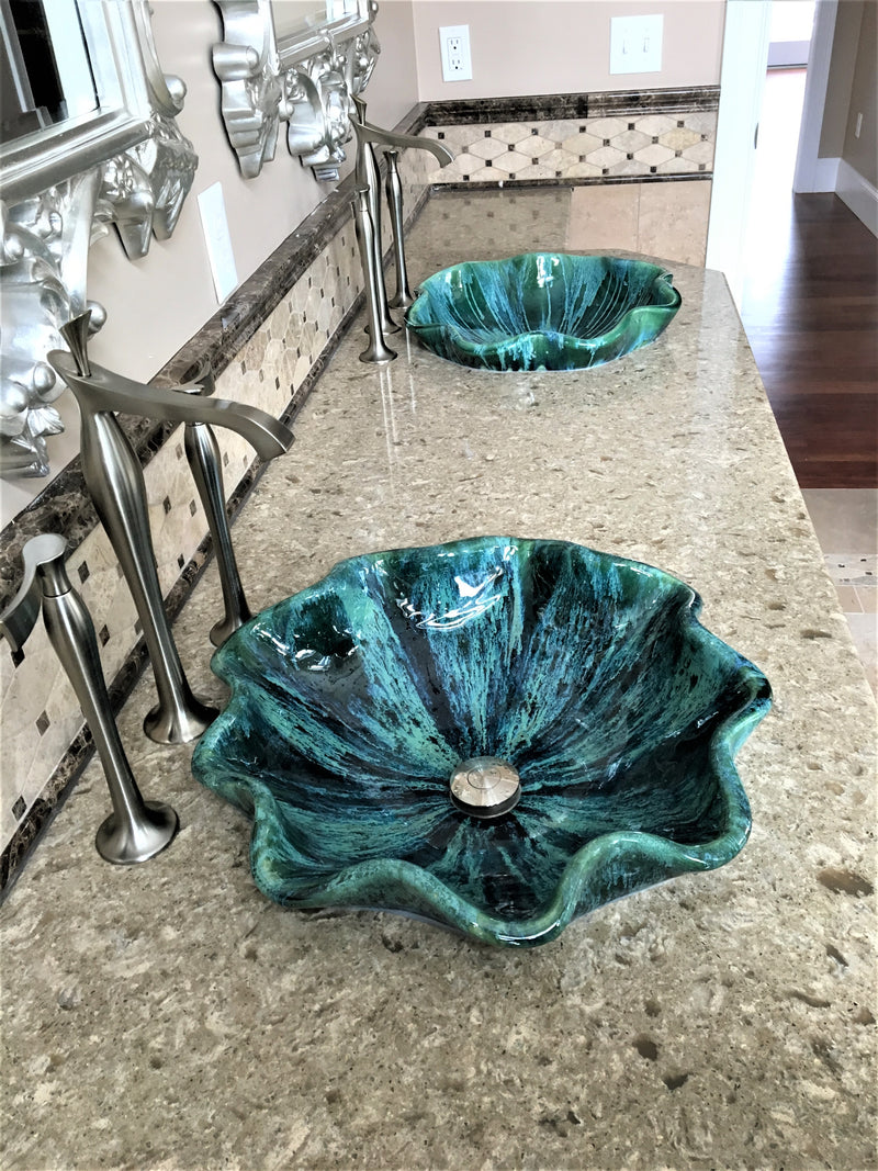 custom made sink, green ceramic sink, handmade green sink, single vanity sink, tropical bathroom, sink, porcelain sink, counter top sink, round sink, mexican sink, single sink vanity, tropical decor, beach decor