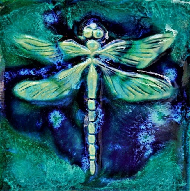 Dragonfly Wall Hanging, Ceramic Dragonfly Tile, Kitchen Backsplash Dragonfly Design, Dragonfly Bathroom Tile, Dragonfly Shower Tile, Dragonfly Jacuzzi Tile, Dragonfly Shower Tile, Dragonfly Wall Tile, Maui Dragonfly,  Hawaiian Dragonfly, Dragonfly Art Decor, Maui Ceramics Dragonfly