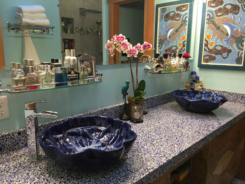 Ceramic Above Vessel Sink, Blue, Scallop Rim Design, Turtle Relief Design 18 x 5.5 $1995.00 V28