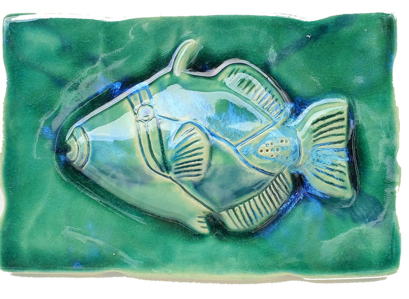 Ceramic Maui Fish, Hawaiian Fish, Fish Decor, Humuhumunukunukuapua 'a, 7x10.5 $69.00 SP09