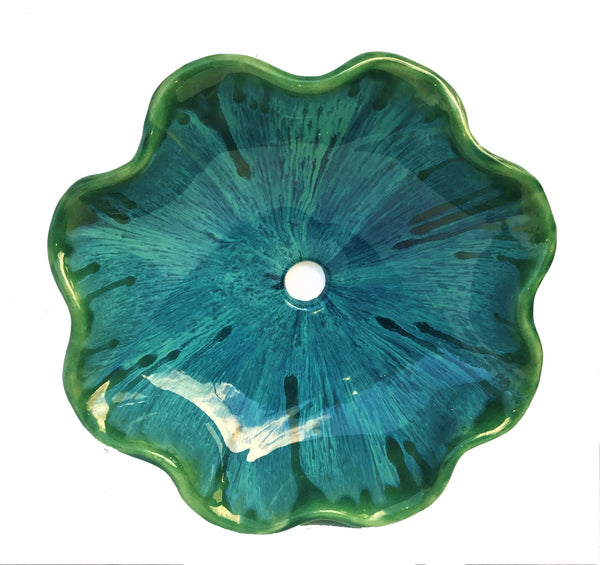 Teal-Green Above Vessel Bathroom Sink With Dark Green Scallop Rim - Maui Ceramics
