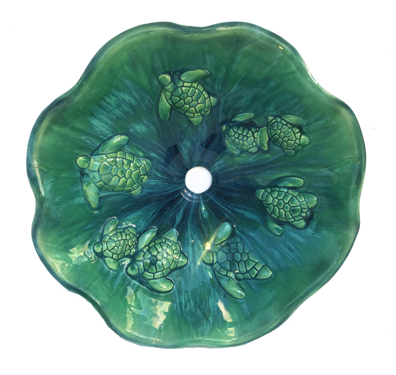 Turquoise Green High-Sheen Glazed Ceramic Sink With Scallop Rim - Maui Ceramics