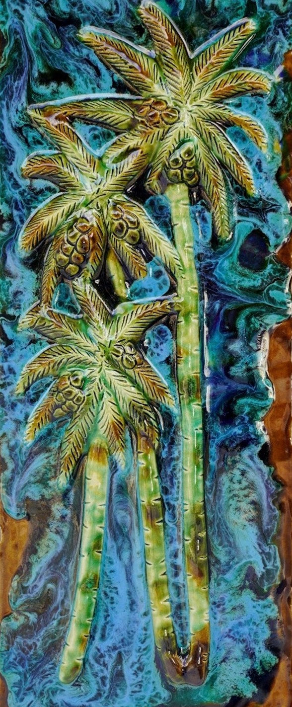 "Wall Art Palm Trees Ceramic Plaque 8.5""x10.5"" LP44"