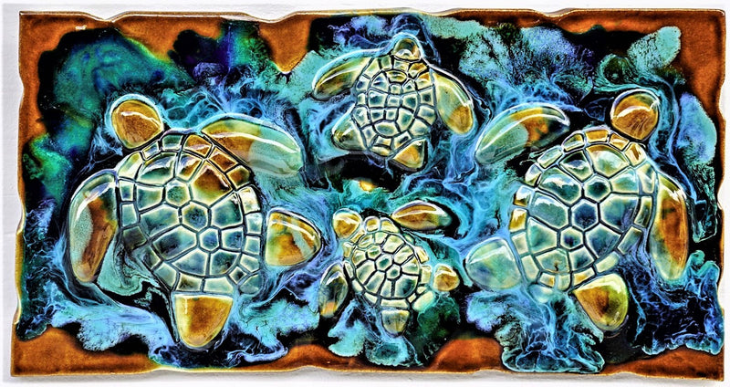 Beach Turtle Decor - Tropical Hawaii Art - Maui Ceramic Turtles - Turtle Gifts - 7x10 $70.00 SP28