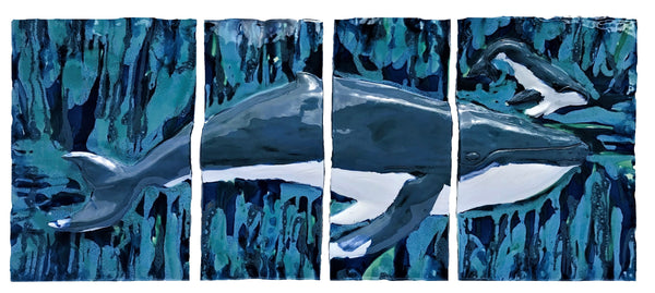"Ceramic Maui Humpback Whale and Calf Four Panel Plaque Wall Hanging Art, 50""x 19"" $3,995.00 LP61"