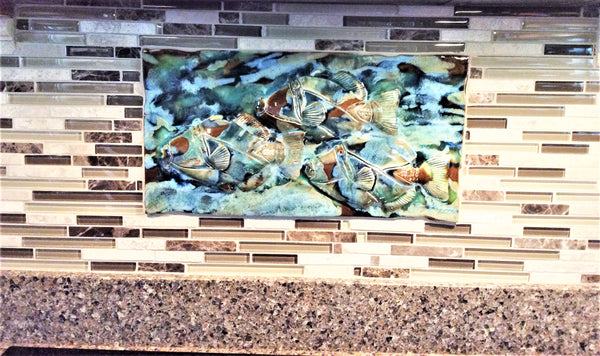Kitchen Backsplash with a Three Fish Relief Design on it, $295.00 IT21