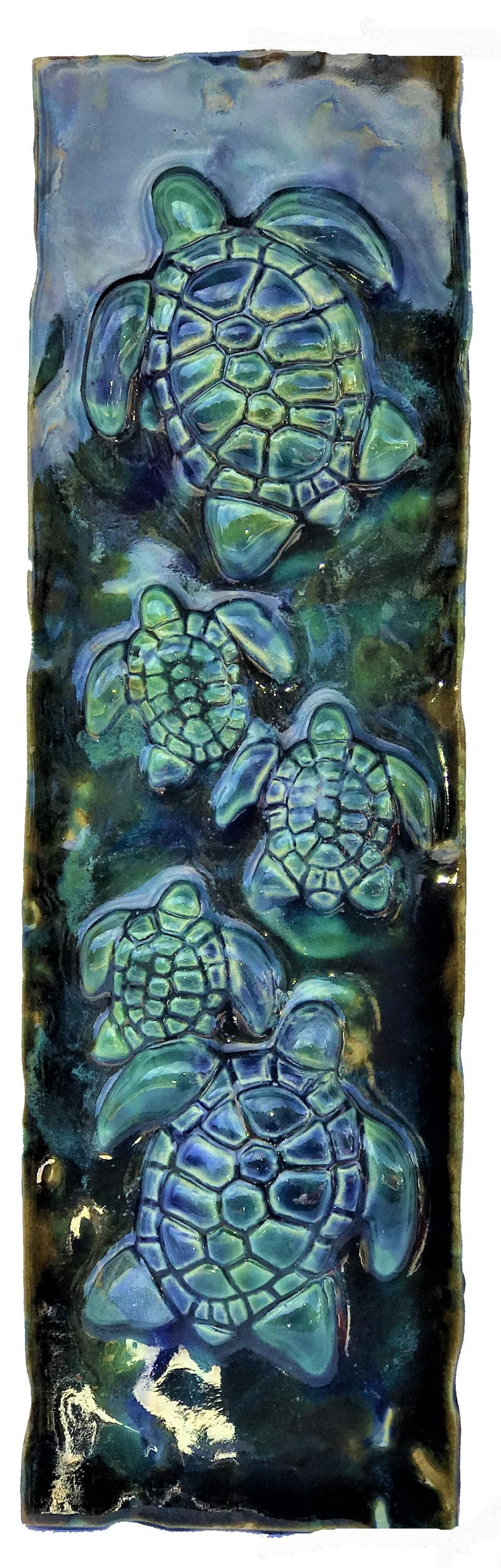 Tropical Beach Art, Decorative Wall Tiles, Sea Turtle Art, Beach Turtle Decor, Sea Life Art - Maui Ceramics