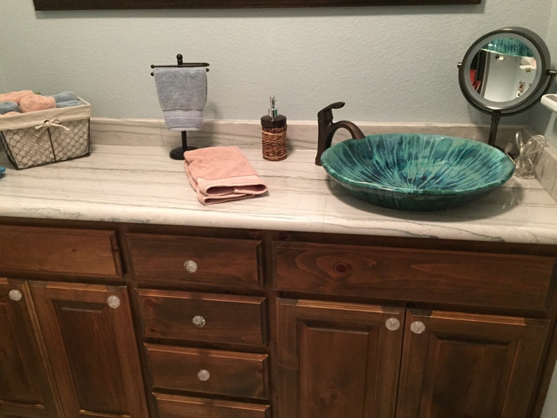 Square Ceramic Kitchen or Bathroom Sink With Rich Blue Striations - Maui Ceramics