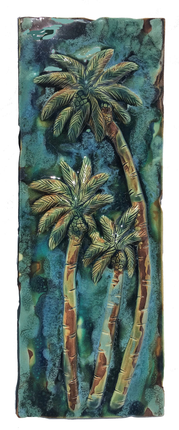Ceramic Swaying Palm Tree Kitchen Decor - Bathroom Tile Art - Maui Ceramics