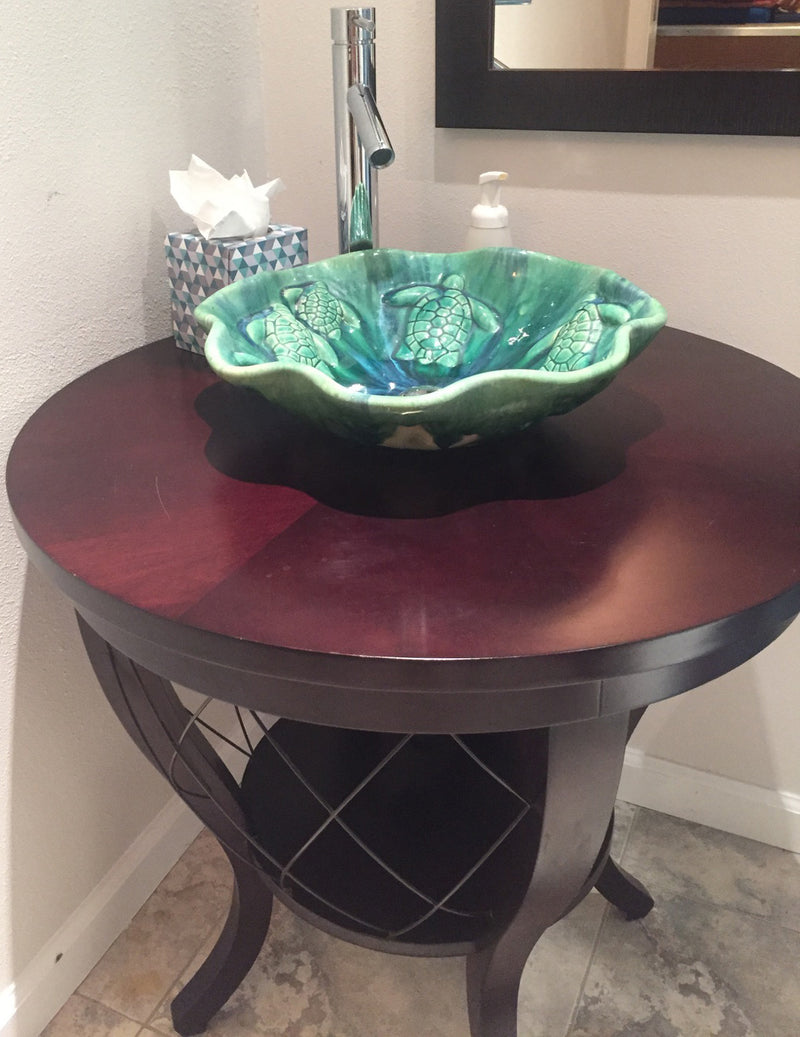 Ceramic Above Vessel Sink, Green, Scallop Rim Design, Turtle Relief Design 16 x 5.5 $1695.00 V08