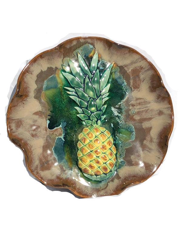 Ceramic Pineapple Wall Hanging Plaque, Pineapple Platter, Ottoman Tray - Maui Ceramics