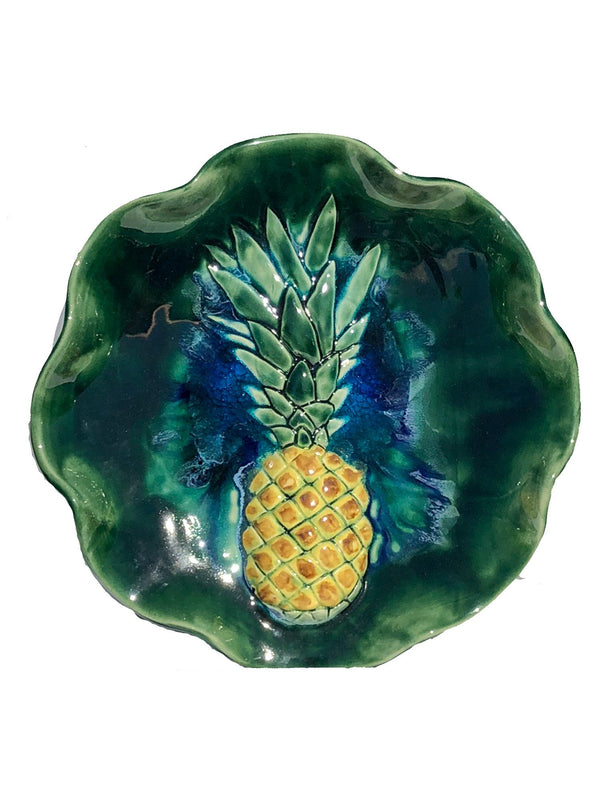 Ceramic Sweet Maui Pineapple Wall Hanging, Pineapple Platter - Maui Ceramics
