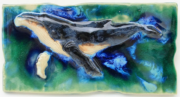 Ceramic Maui Humpback Whale Kitchen Backsplash, Humpback Whale Bathroom Tiles - Maui Ceramics