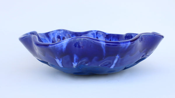 Maui Blue Cobalt Glazed Scallop Rim Vessel Sink With Turtle Design - Maui Ceramics
