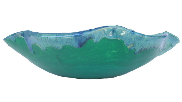 Single Large Hawaiian Green Sea Turtle Ceramic Sink With Scallop Rim - Maui Ceramics