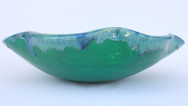 Cool Green & Blue Earth-Tone Bamboo Rim Above Vessel Ceramic Sink - Maui Ceramics