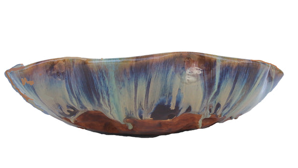 Tropical Blue & Green Beach Abstract Design Above Vessel Sink - Maui Ceramics