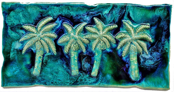 Ceramic Palm Tree Kitchen Backsplash Tile, Palm Tree Bathroom Tile - Maui Ceramics