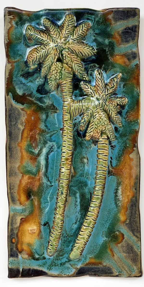 Ceramic Palm Tree Kitchen Backsplash Tile, Bathroom Tile, Palm Tree Art - Maui Ceramics