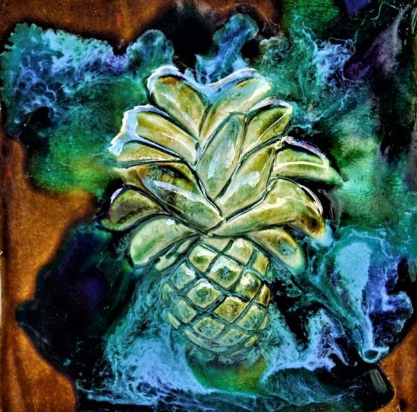 Pineapple Wall Hanging, Ceramic Pineapple Tile, Kitchen Backsplash with Pineapple Relief Design, Pineapple Bathroom Tile, Pineapple Shower Tile, Pineapple Jacuzzi Tile, Pineapple Shower Tile, Pineapple Wall Tile, Maui Pineapple, Hawaiian Pineapple, Pineapple Decor, Pineapple Wall Art, Pineapple Décor, Pineapple Wall Art, Maui Ceramics Pineapple