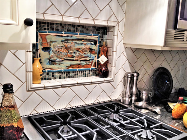 Kitchen Backsplash with Four Turtle Relief Desgn