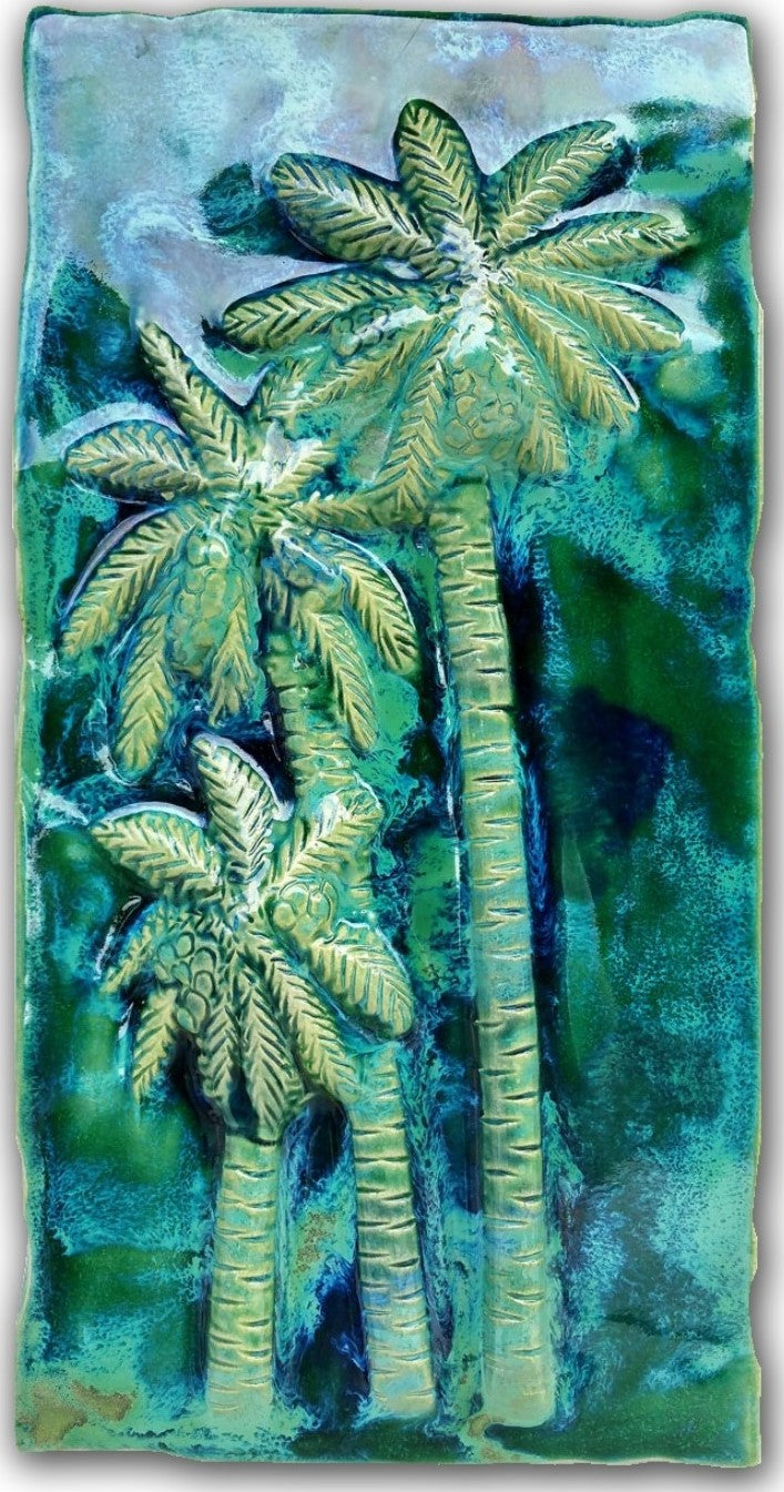 Palm Trees Wall Hanging, Ceramic Palm Trees Tile, Kitchen Backsplash with Palm Trees Relief Design, Palm Trees Bathroom Tile, Palm Trees Shower Tile, Palm Trees Jacuzzi Tile, Palm Trees Shower Tile, Palm Trees Wall Tile, Maui Palm Trees, Hawaiian Palm Trees, Palm Trees Decor, Palm Trees Wall Art, Palm Trees Décor