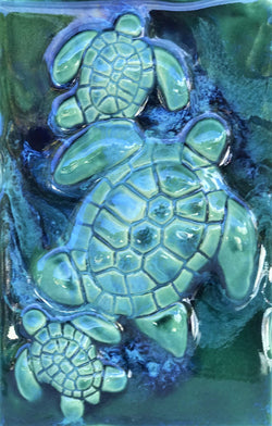 Turtle Sea Life Art, Turtle Wall Art, Ceramic Sea Turtles, Green Sea Turtles, Kitchen Tiles SP70
