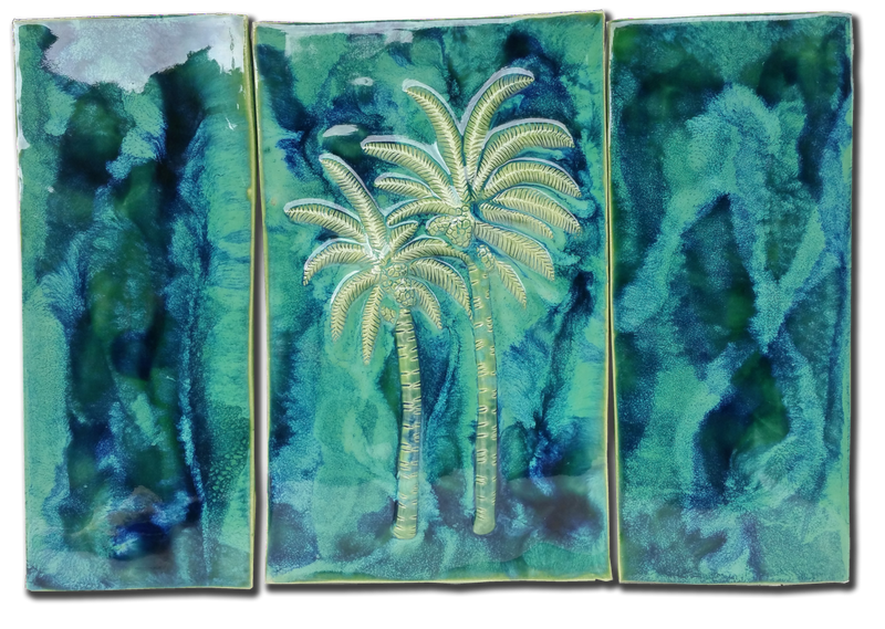Palm Trees Wall Hanging, Ceramic Palm Trees Tile, Kitchen Backsplash with Palm Trees Relief Design, Palm Trees Bathroom Tile, Palm Trees Shower Tile, Palm Trees Jacuzzi Tile, Palm Trees Shower Tile, Palm Trees Wall Tile, Maui Palm Trees, Hawaiian Palm Trees, Palm Trees Decor, Palm Trees Wall Art, Palm Trees Décor, Palm Trees Wall Art, Maui Ceramics Palm Trees