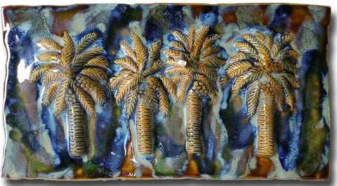 "Bathroom Tile Palm Trees Design 8.5""x17.5"" MP15"
