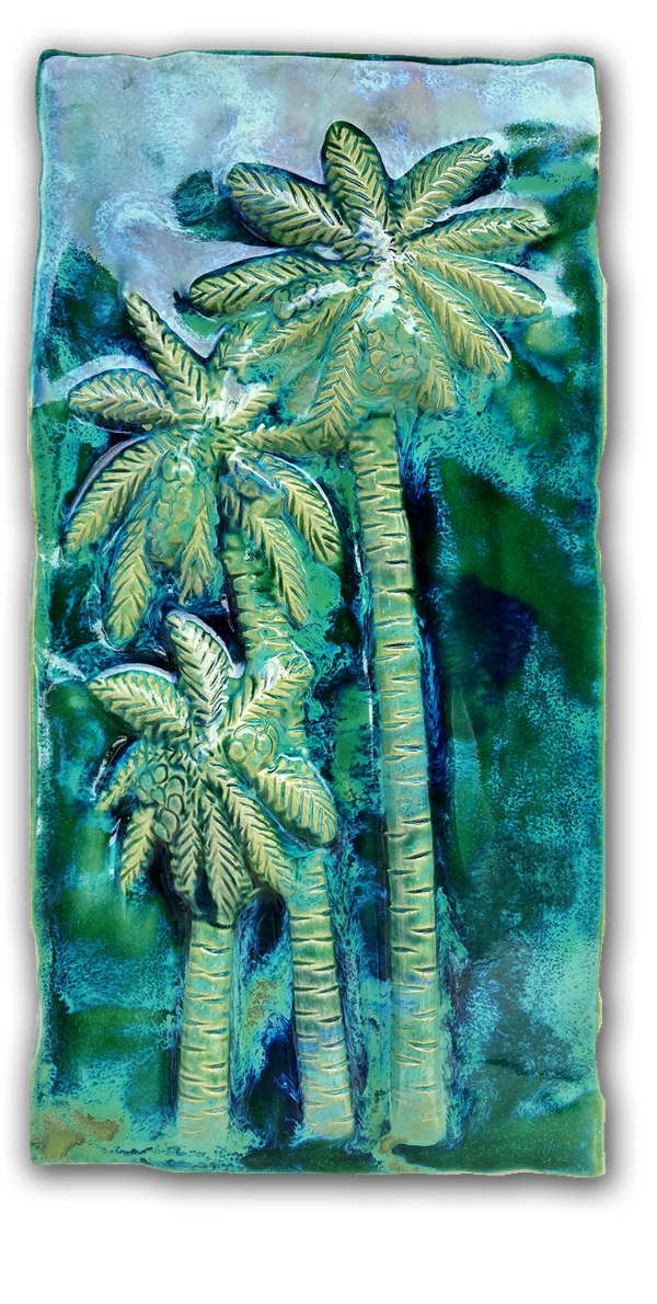 Ceramic Palm Tree Kitchen Backsplash Tile, Palm Tree Bathroom Tile, Maui Art - Maui Ceramics