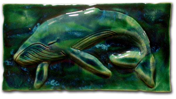 "Ceramic Wall Art Maui Humpback Whale 8.5""x17.5"" MP29"